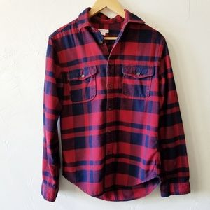 Merona Target Red Plaid Flannel Button Down S